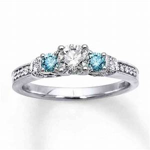 Blue diamond white gold engagement rings wedding and for Wedding rings blue