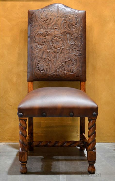 tooled leather dining chairs silla chapital demejico