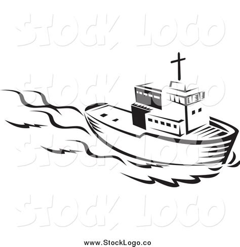 Tugboat Outline by Vector Clipart Of A Black And White Tug Boat Logo By