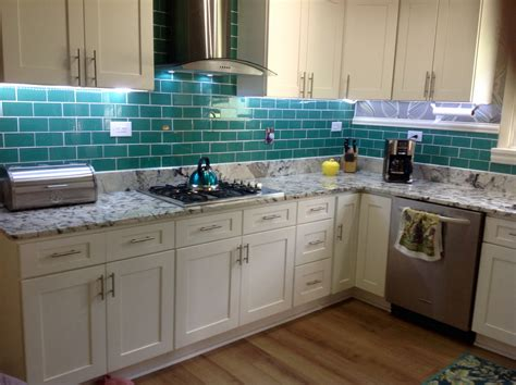 green tile backsplash kitchen emerald green glass subway tile updated kitchen backsplash