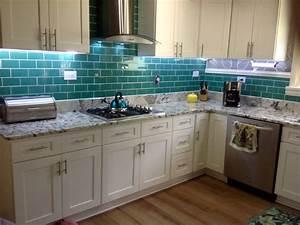 Emerald Green Glass Subway Tile Kitchen Backsplash