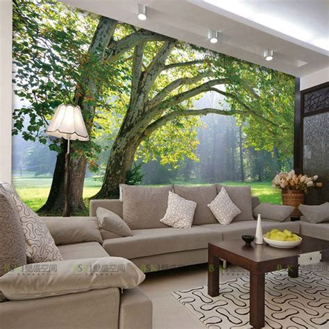 10 Living Room Designs With Wall Murals by 3d Photo Wallpaper Nature Park Tree Murals Bedroom Living