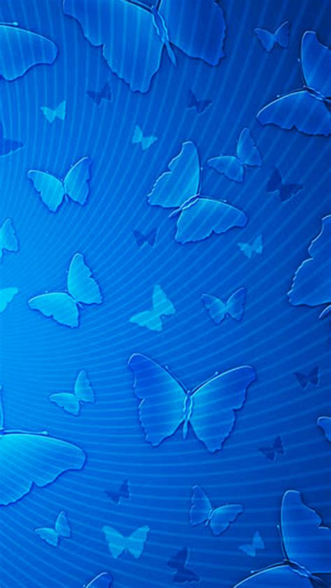 blue butterflies pattern android wallpaper