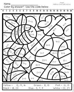 math coloring sheets  spring addition  subtraction