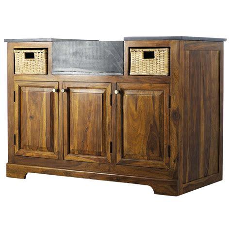 meubles cuisine bois massif meuble bas de cuisine en bois de sheesham massif l 120 cm