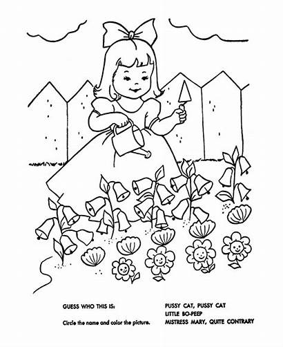 Mary Nursery Coloring Rhymes Rhyme Goose Pages