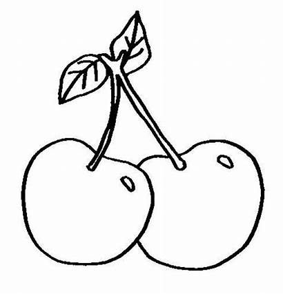 Cherry Coloring Fruit Pages Drawing Easy Fruits