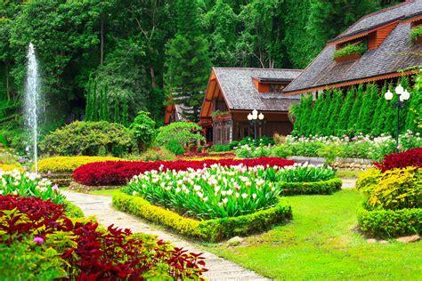 1920x1080 beautiful tulips garden gardens tulips houses shrubs grass nature wallpaper 4500x3000 348993 wallpaperup