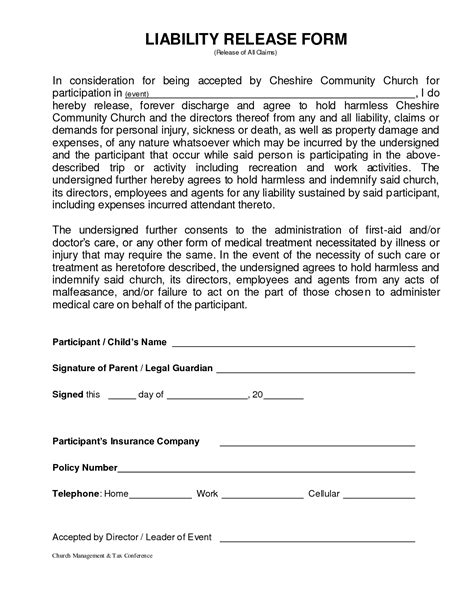 general release form florida generic liability waiver and release form