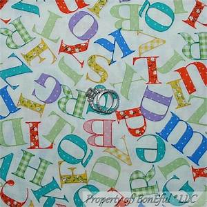 boneful fabric fq cotton quilt vtg nursery baby boy girl With fabric alphabet letters for nursery
