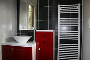 salle de bain rouge noire et blanc With organisation salle de bain