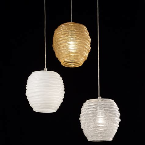 Moderne Glaspendelleuchte Mit Mundgeblasener Muranoglaskugel