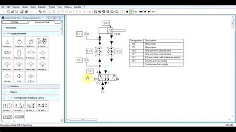 fluidsim double acting cylinder control    flow