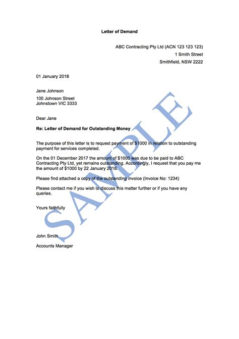 letter  demand st attempt  template sample