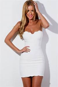strapless white mini dress Naf Dresses