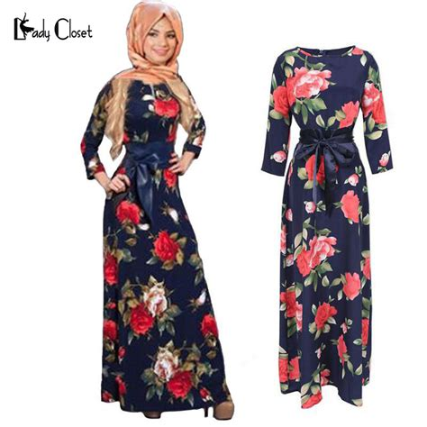 fashion abaya muslim maxi dress women islamic printing