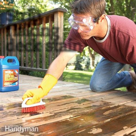 Restain Deck Without Stripping by How To Remove Flaking Deck Stain The Family Handyman