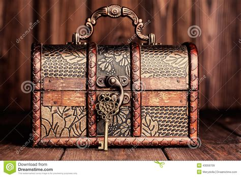 vintage key   treasure chest stock photo image