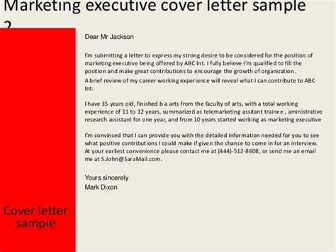 Cover Letter For Marketing Executive by Marketing Executive Cover Letter