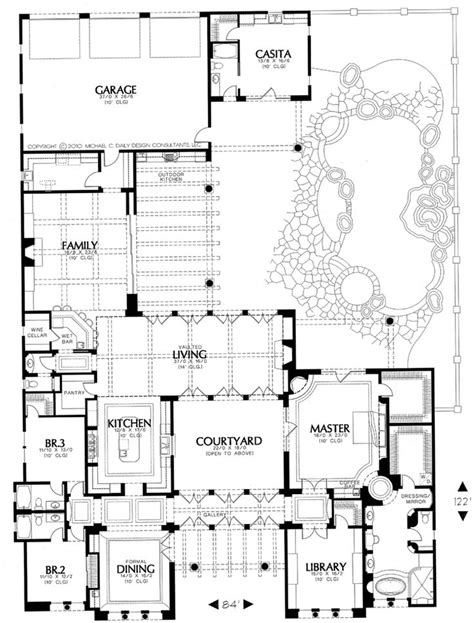 home plans with courtyard plan 16386md courtyard living with casita house plans