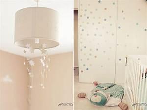 Une chambre de bebe theme aviation etoiles et nuages for Luminaire chambre enfant avec matelas dunlopillo bz