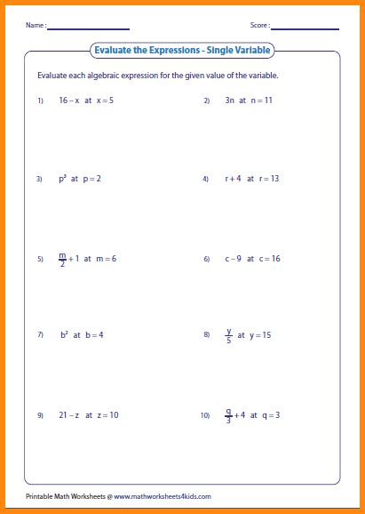 evaluating expressions worksheets 7th grade worksheets for