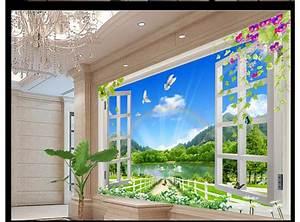Customized 3d wallpaper 3d wall murals wallpaper Nature landscape 3D stereo window background