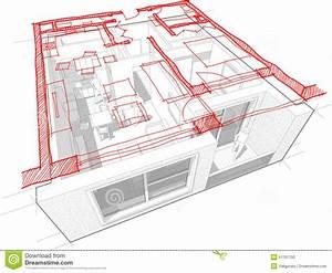 Apartment Diagram With Hand Drawn Floorplan Diagram Vector Illustration