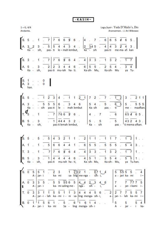 teks lagu persembahan hati punai menyongsong awan teks koor dan partitur not angka nyanyian gereja katolik