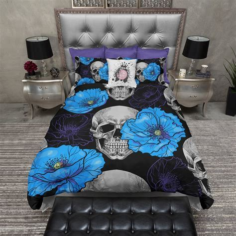 Purple and Blue Poppy Skull Bedding   Ink and Rags