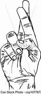 Vectors of Sketch of Hand with crossed fingers. Vector ...