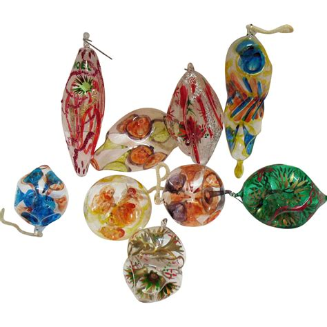 italian christmas ornaments glass hand blown vintage 9 italian blown painted thin glass tree ornaments from 1960s
