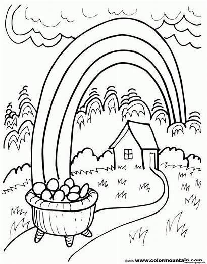 Coloring Pot Rainbow Gold Pages Sheet Printable