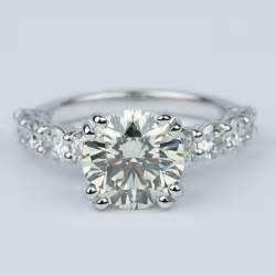 Diamond Engagement Ring With Large Side Diamonds 2 Carat