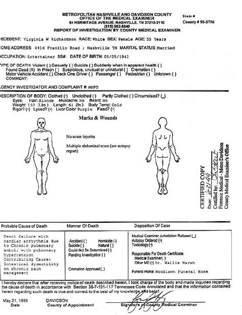 blank embalming report form white gold