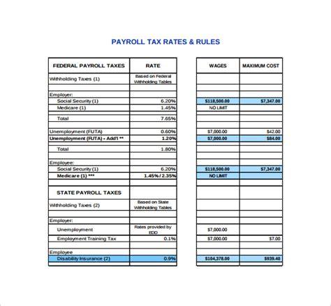 payroll tax calculator templates   sample