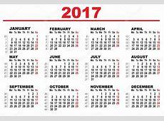 Wall Calendar 2017 First day Monday — Stock Vector