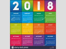 Colorful calendar 2018 design Week starts on Monday Stock