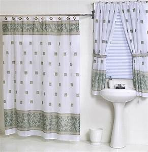 Windsor jade green fabric shower curtain matching window for Bathroom shower curtains and window curtains