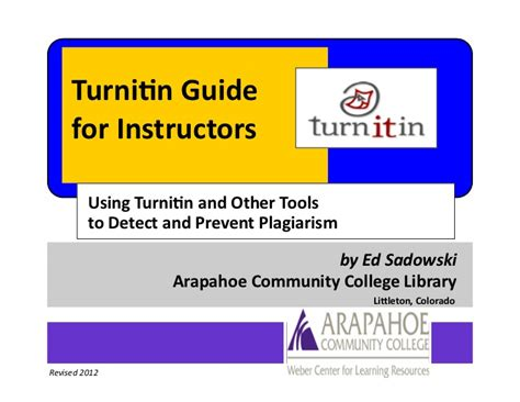 turnitin guide for instructors web and d2l