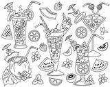 Clipart Cocktail Cocktails Coloring Pages Drink Summer Vector Adult Clip Coctails Etsy Books sketch template