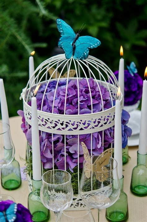 butterfly centerpieces wedding birdcage cage centerpiece purple accessories hydrangea decorations table centre amazing bird weddingstar butterflies decoration flowers flower unique