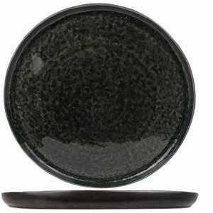Assiette Plate Originale : assiette plate ronde noire et verte 31cm laguna verde cosy trendy ~ Teatrodelosmanantiales.com Idées de Décoration