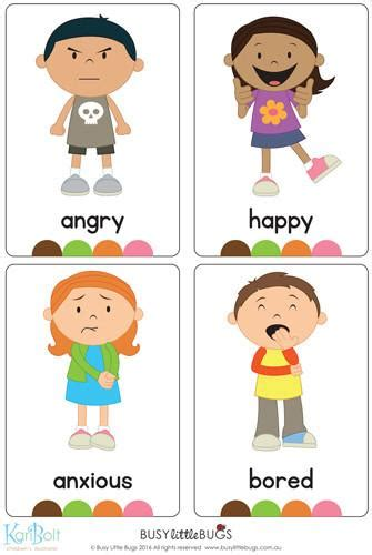 emotions flash cards busy bugs 668 | Emotions full body busy little bugs grande
