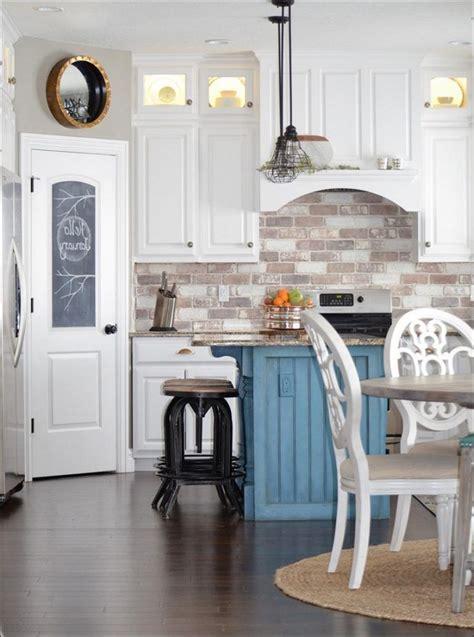 image result  brick backsplash white cabinets brick