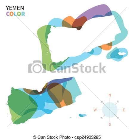 abstract vector color map  yemen abstract vector color