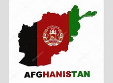 Afghanistan, map with flag, isolated on white with