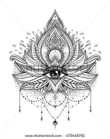 Vector ornamental Lotus flower, all-seeing eye, patterned Indian paisley. Hand… | 2 Waterlillies