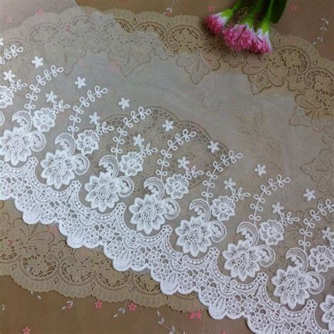 3 Meters 20cm Width Wholesale White Delicate Embroidered