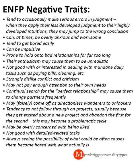 enfp negative traits    great list    enfp   issues